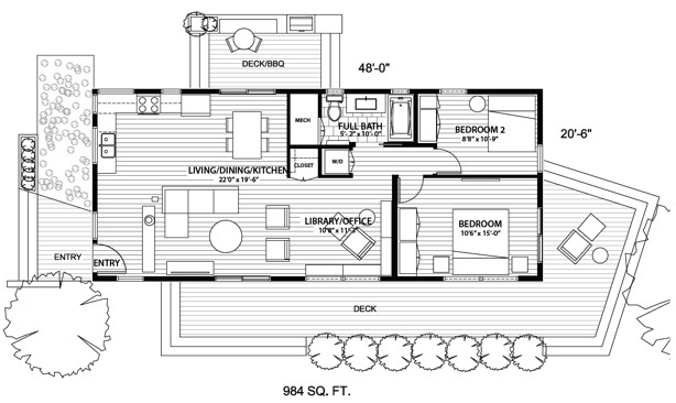 Blu Homes Element two-bedroom floor plan