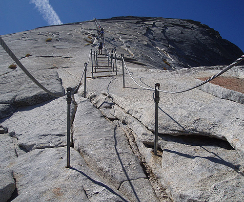 This is the last part of the Half Dome hike. When I first saw this, I said no way! But then I did it and it wasnt that frightening.