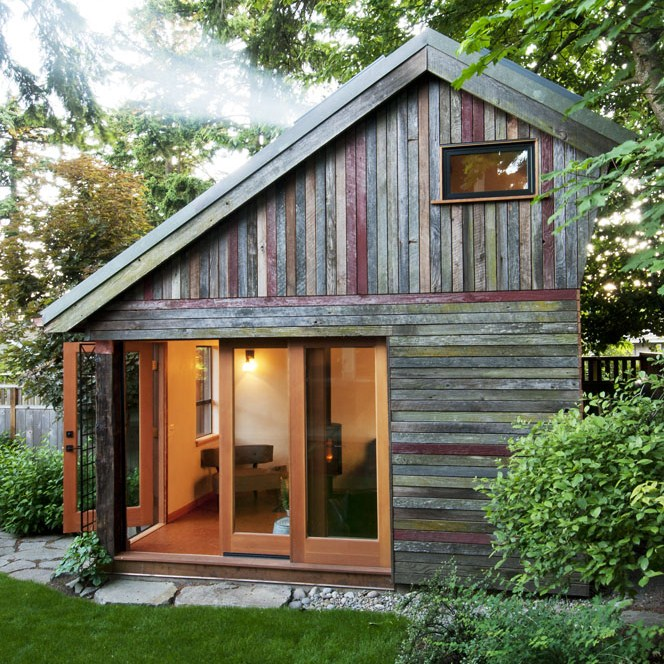 Megan Lea's backyard cabin made from reclaimed materials.
