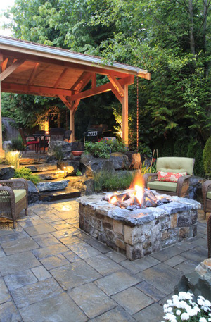 Layered backyard patio from Houzz.com