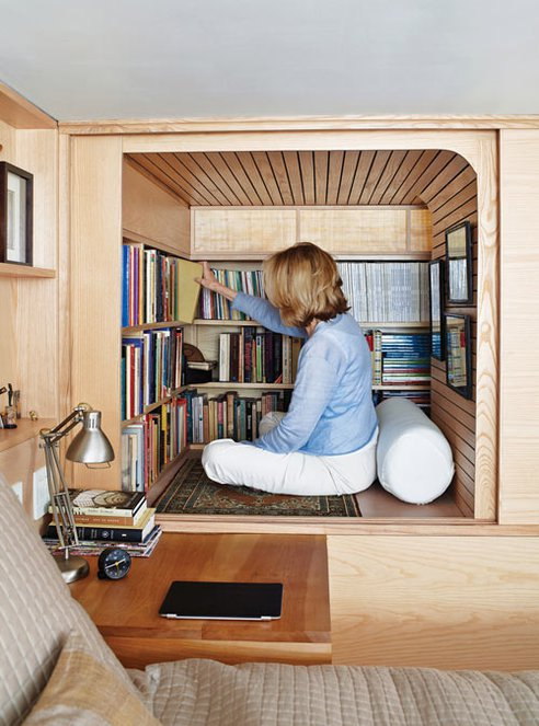 Photo from Treehugger.com. This library nook is adorable. Luckily the anthropologist is flexible.