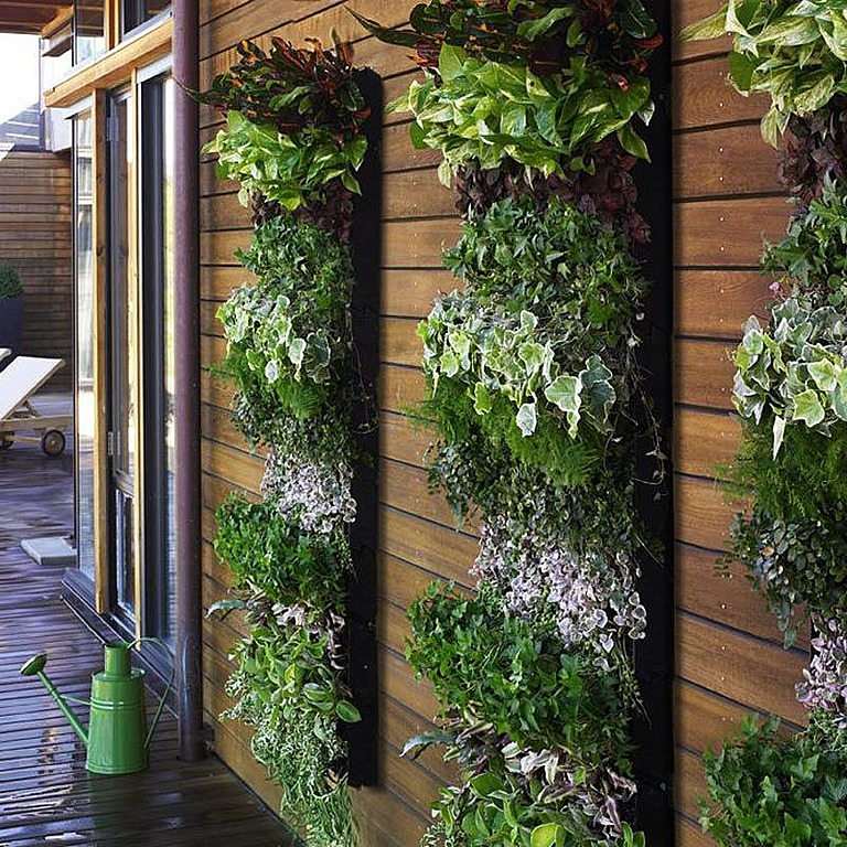 Vertical planters take up less space.
