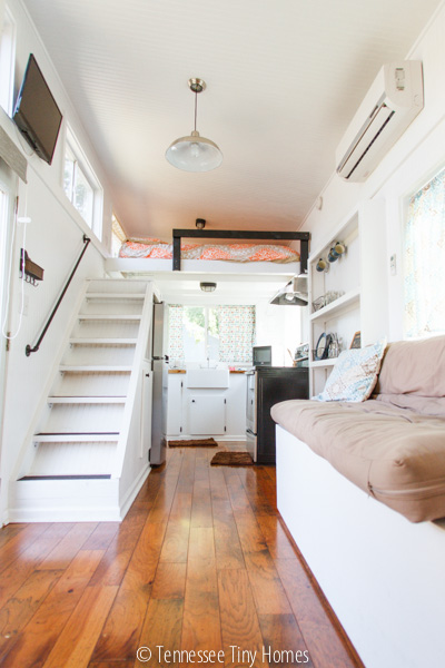 Interior of the Tiny Happy Home's 2x4 house plan.