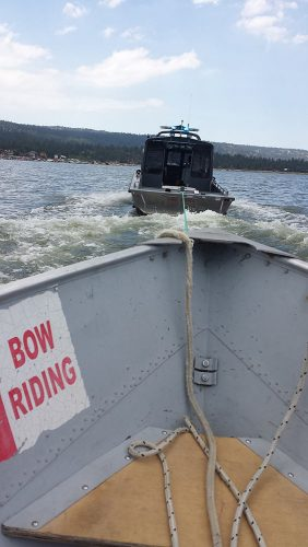 Thank goodness for lake patrol. They were quick to respond and towed us right in.