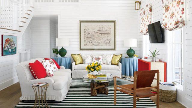 shiplap wall living room