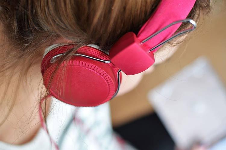 student listening music